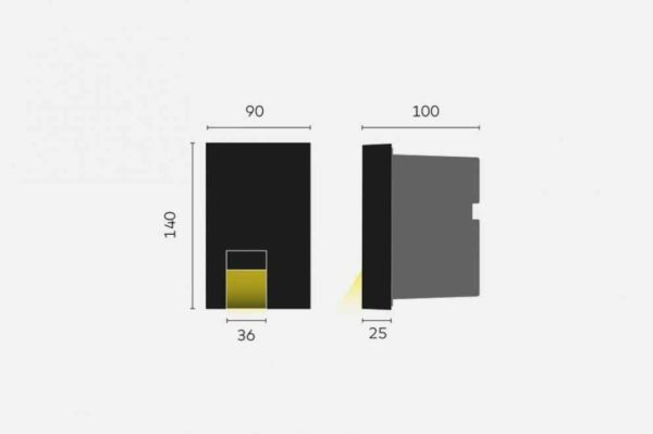 Kleine Design Wandeinbau Orientierungslicht außen schwarz Abmessungen