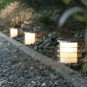 Kleine runde Weglampe mit Seitenlicht