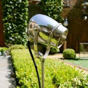 LED Gartenstrahler Chrom zum Stecken