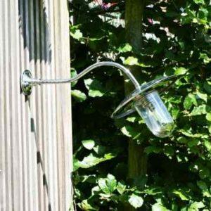 Nostalgische Außen Wandlampe chrom 45° gebogen