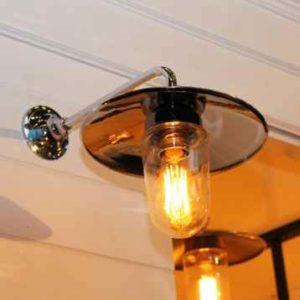 Nostalgische Außen Wandlampe chrom 90° gebogen