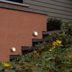 Runde kleine Aufbau Treppenstufen Wandleuchte LED Edelstahl außen 230 Volt