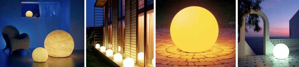 Anwendungsbeispiele von Moonlight Kugelleuchten für außen und innen