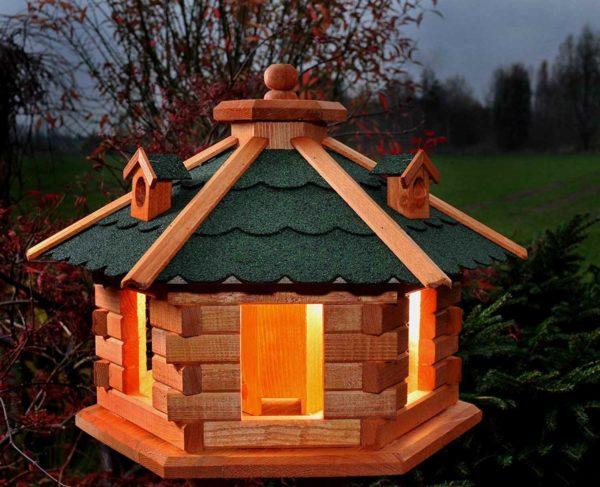 Vogel Futterhaus mit Solarbeleuchtung