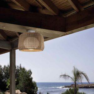 Mediterrane Decken Geflecht Hängeleuchte außen