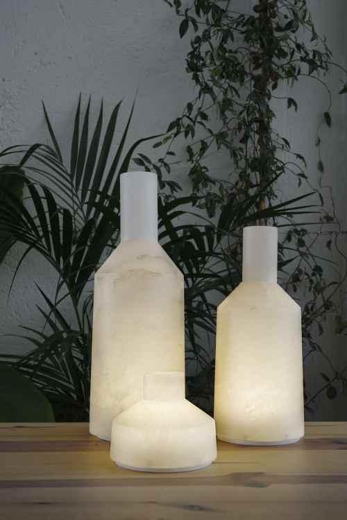 Alabaster Außenlampen mit Akku in 3 Größen