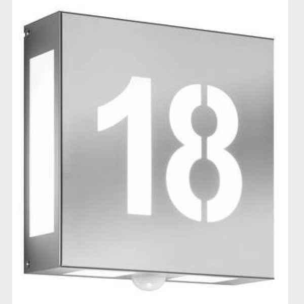 Wandleuchte außen quadratisch mit Hausnummer