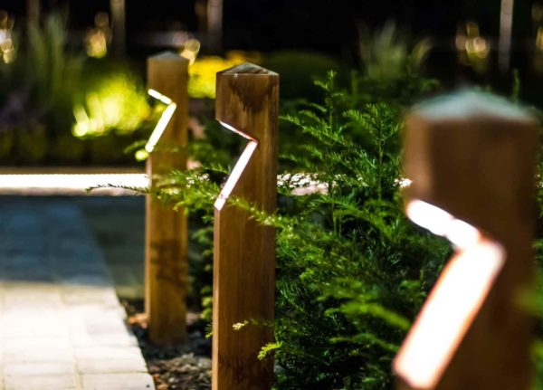 Hochwertige LED Holz Außenlampen