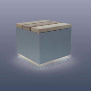 Stabiler Außen Sitzhocker mit Beleuchtung