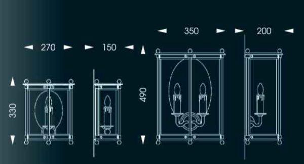 2 mögliche Größen der stilvollen Außenwandleuchte mit 230Volt Kerzen
