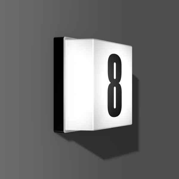Schlichte Hausnummernleuchte mit automatisch Licht an