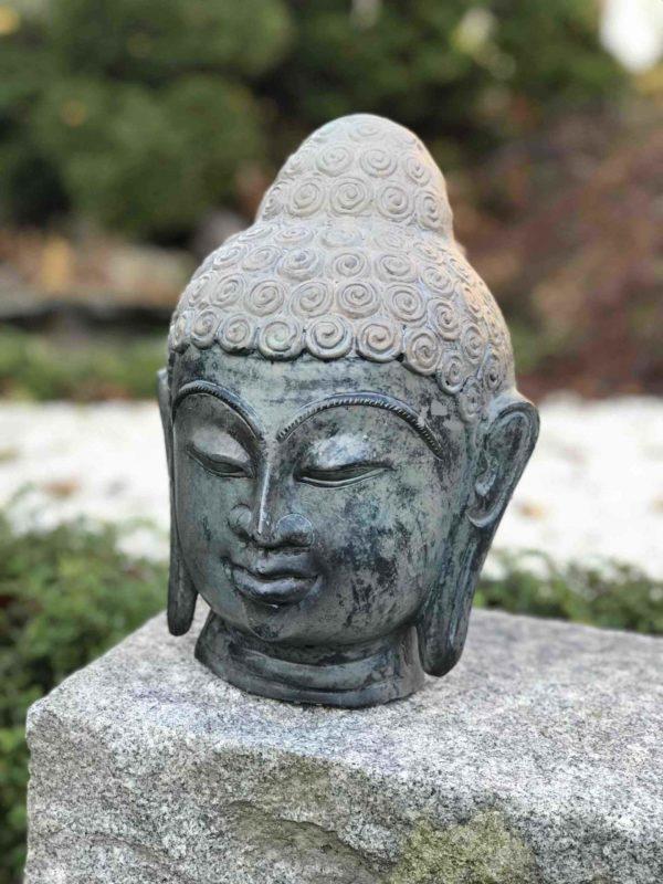 Buddha Kopf massiv Bronze für außen