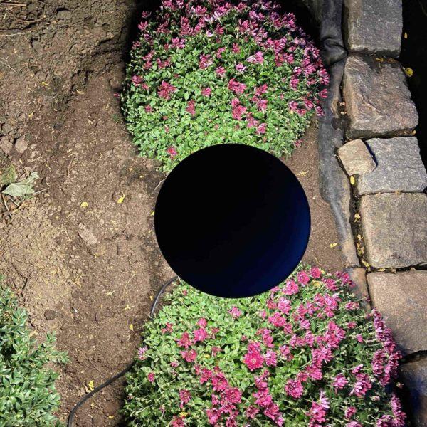 Gartenleuchte von oben gesehen