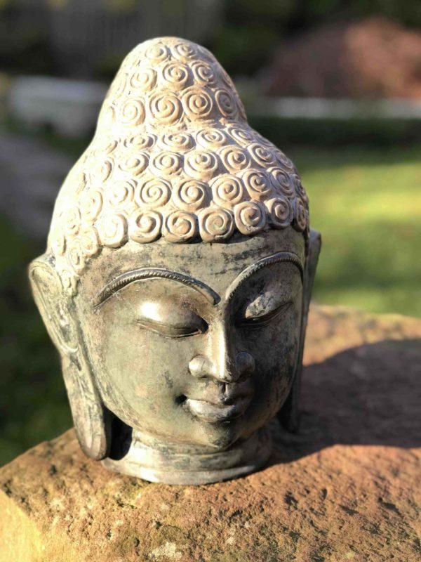 Indischer massiver Bronze Buddhakopf