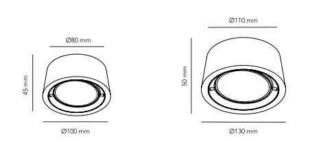 Außen Deckenleuchten mit klarer Form in verschiedenen Größen