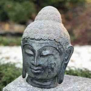 Buddhakopf massiv Bronze für aussen
