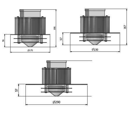 Kupfer Deckeneinbauleuchte Gu10 für außen in 3 Größen