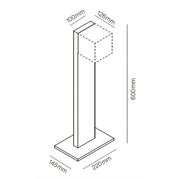 Puristisch moderne Weglampe für außen Abmessungen