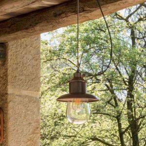 Kupfer Decken Hängeleuchte mit Schirm für außen