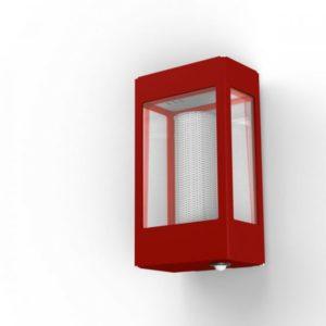 Rote Außenlampe mit Bewegungsmelder