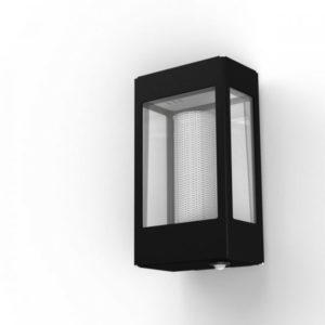 Schwarze Außenwandlampe mit Bewegungsmelder