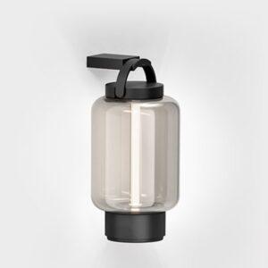 Schwarze Akku Wandlampe für außen