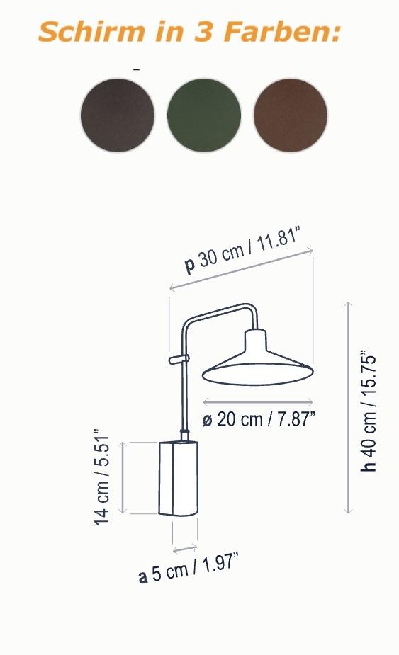 Gemütliche Schirm Wandleuchte für den Außenbereich Maße und Farben