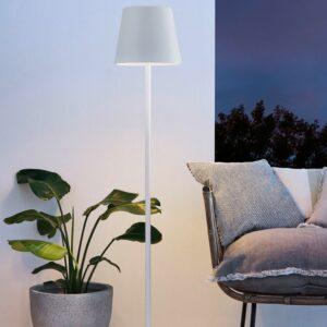 Weiße Akku Stehlampe für außen